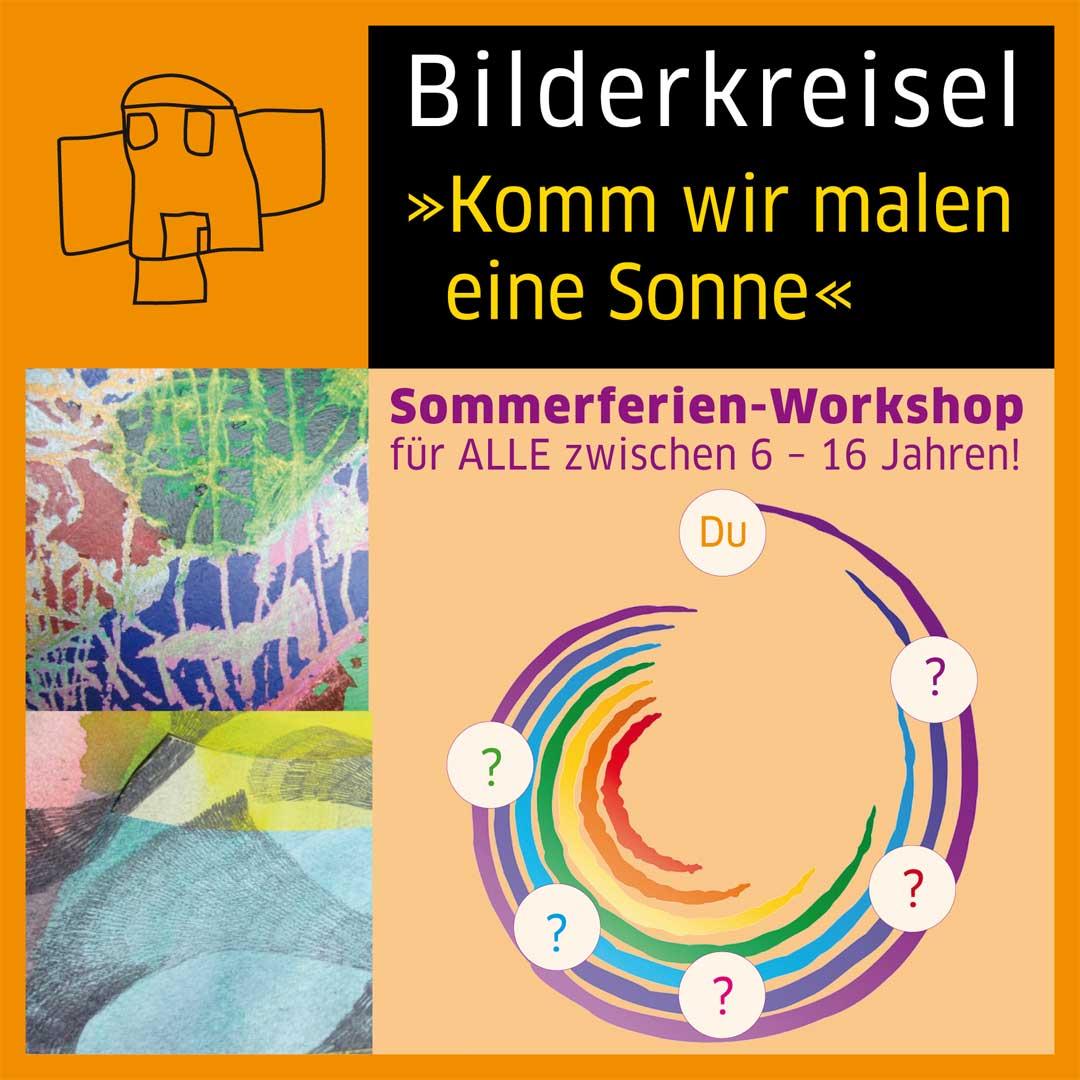 Sommerferien-Workshop für ALLE zwischen 6 – 16 Jahren! Komm wir malen eine Sonne Kinderbilderkreisel