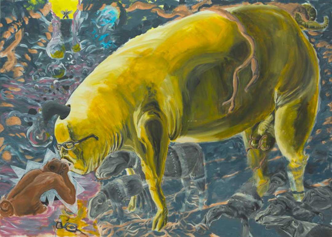 Ausstellung Paul Damczok / Yukihiro Ikutani »Pregnant Men«, Brotfabrikgalerie